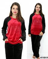 Теплая махровая пижама подростковая женская,черная с красным 146,158,164 рост