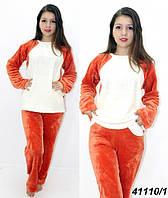 Оранжевая махровая пижама подростковая женская 146,рост, фото 1