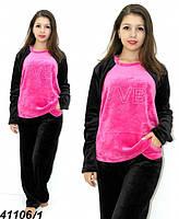 Теплая махровая пижама подростковая черная с розовым 146,158,164 рост