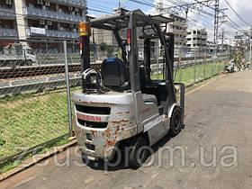 Вилочный погрузчик бу Nissan (Япония) FG15 (P1F1A15D), газовый автопогрузчик бу, г/п 1,5 тонны, STD3000