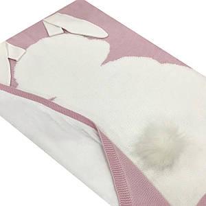 Плед вязанный двухсторонний (90% хлопок, 10% акрил) зайчик белый на пудровом 95*75 см