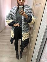 Кардиган-пальто объемной вязки из пряжи Maxi 100 % шерсть мериноса, фото 1