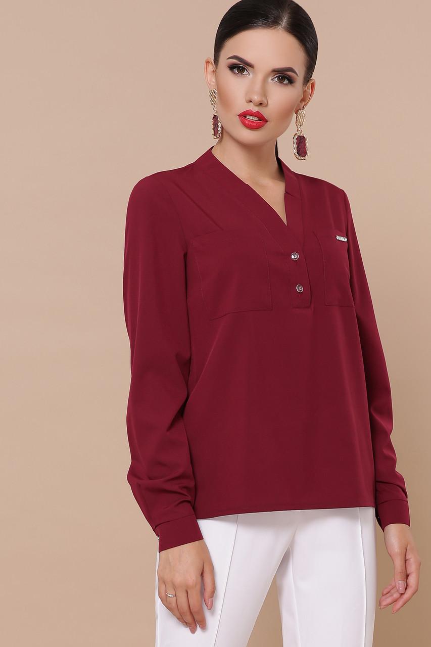 Блузка бордовая с V-образным вырезом Жанна