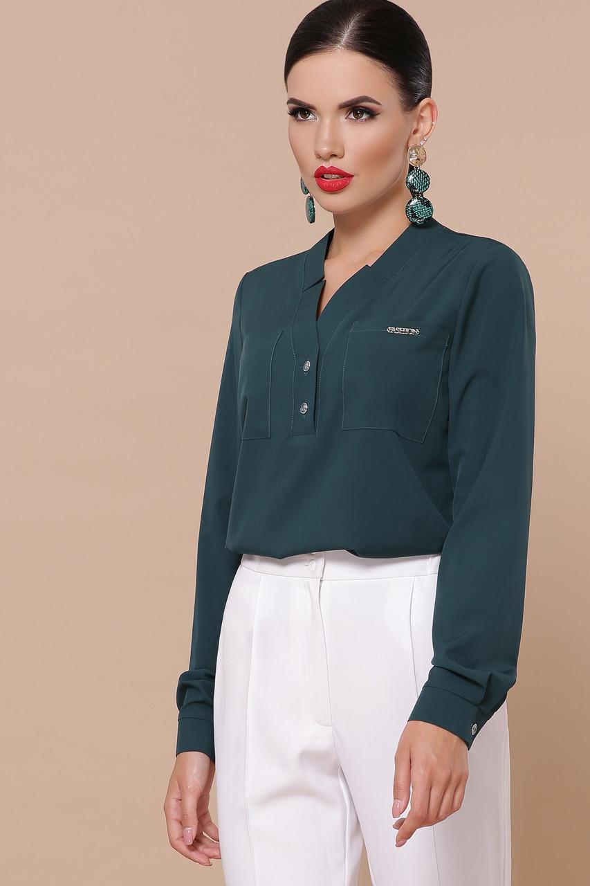 Блузка зеленая с V-образным вырезом Жанна