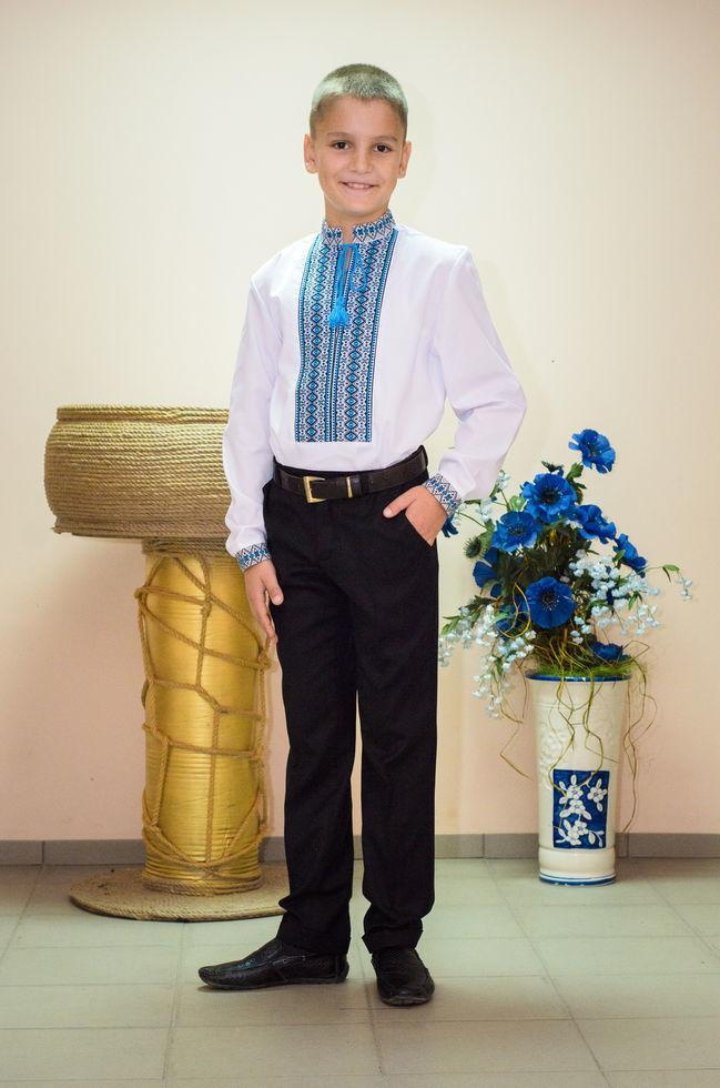 Вышиванка подростковая Волинські візерунки  тканая голубая 158 см белая