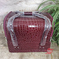 """Тёмно-бордовая сумка для маникюра """"крокодил"""", фото 1"""