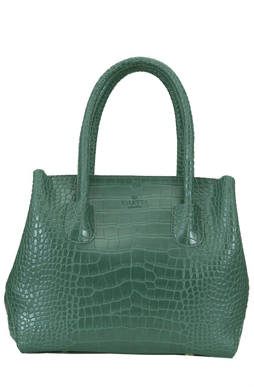 Женская сумка ШАЛФЕЙ тоут Valetta зеленая 28 см х 24 см х 15 см