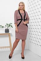 Платье женское прилегающего прямого силуэта ВИЛОРА креп-дайвинг КОФЕ 50,52,54,56р полочка в виде жакета и юбки