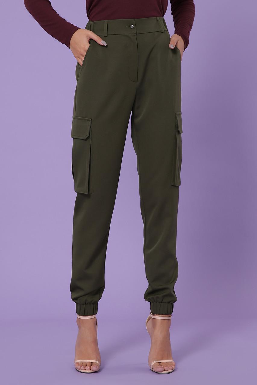 Спортивные женские брюки карго с накладными карманами хаки Стеф
