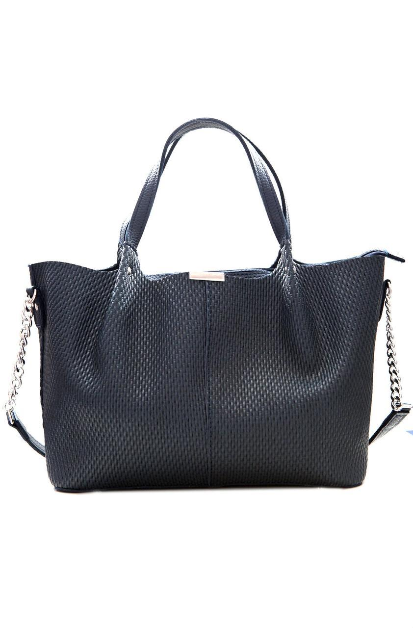 Кожаная женская сумочка через плече Valetta темно-синяя 37см х 24 см х 13 см