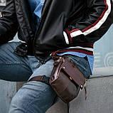 Сумка чоловіча поясна стегновий шкіряна. Сумка на ногу з натуральної шкіри (чорна), фото 2
