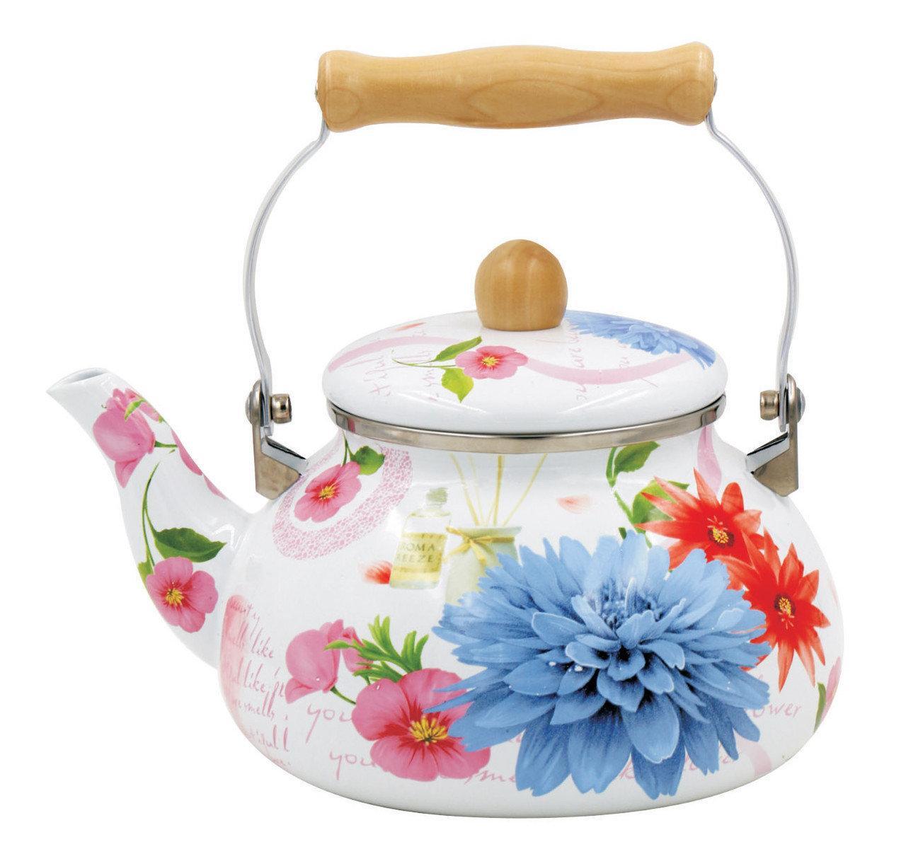 Чайник Benson BN-109 эмалированный белый с подвижной деревянной ручкой Голубой цветок (2.5 л)