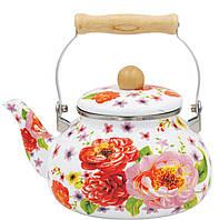 Чайник Benson BN-109 эмалированный белый с подвижной деревянной ручкой Красный цветок (2.5 л)