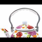 Чайник Benson BN-110 эмалированный белый с подвижной нейлоновой ручкой Белый Сиреневый цветок (2.5 л), фото 2
