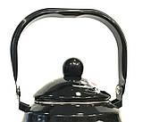 Чайник Benson BN-101 емальований з рухомою ручкою чорний з малюнком (1,5 л), фото 2