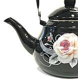 Чайник Benson BN-101 емальований з рухомою ручкою чорний з малюнком (1,5 л), фото 3