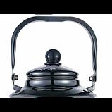 Чайник Benson BN-105 емальований з рухомою ручкою чорний з малюнком (1.7 л), фото 3