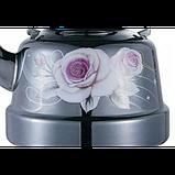 Чайник Benson BN-106 емальований з рухомою ручкою чорний з малюнком (2.5 л), фото 2