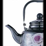 Чайник Benson BN-106 емальований з рухомою ручкою чорний з малюнком (2.5 л), фото 4