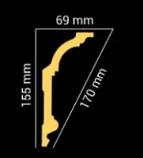 Плинтус потолочный GP-71  155*69 mm для натяжного потолка, фото 2