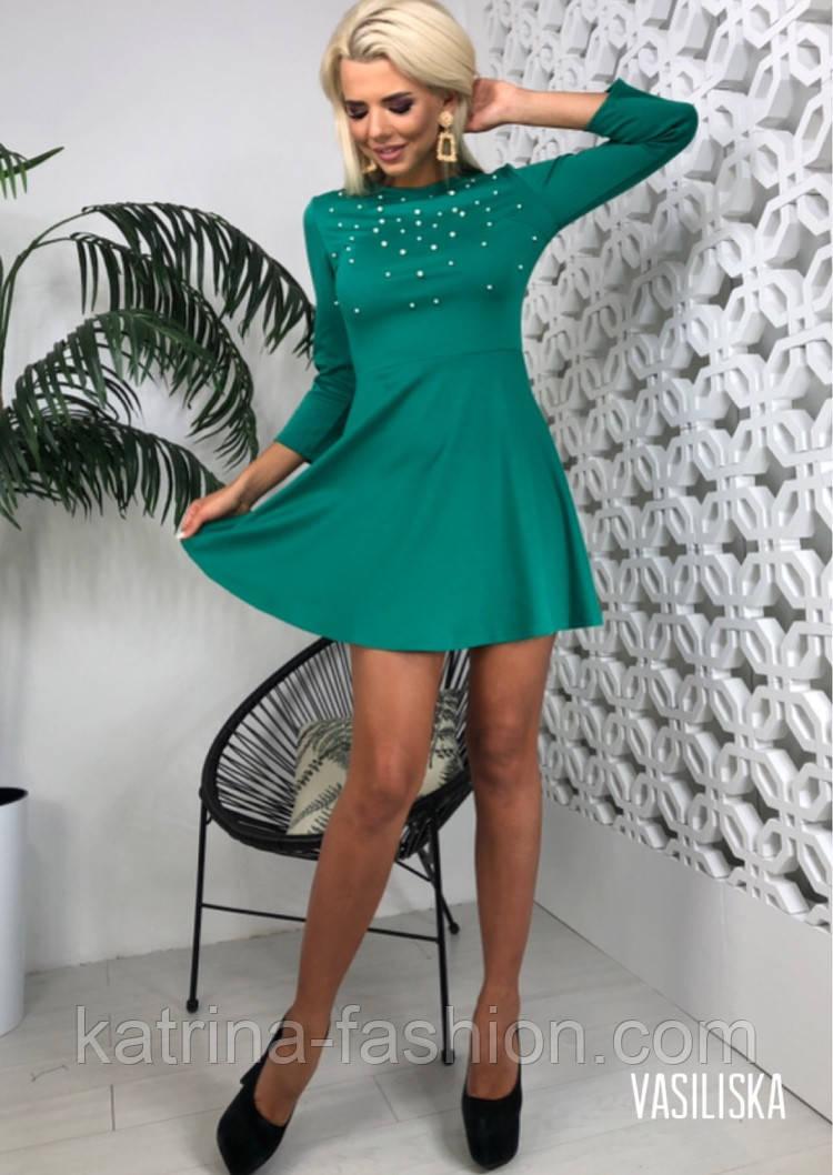 Женское трикотажное платье с жемчугом и юбкой-солнце (в расцветках)