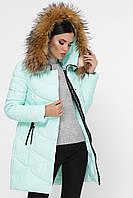 Куртка женская зимняя удлиненная с меховым капюшоном 18-121
