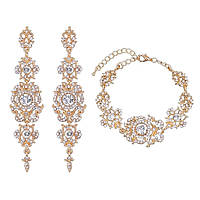 Свадебный набор серьги браслет ювелирная бижутерия позолота 4711с-г