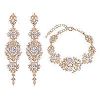 Весільний набір сережки, браслет ювелірна біжутерія позолота 4711с-р