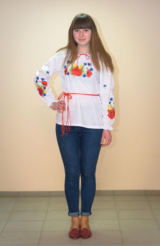 Вишиванка підліткова Волинські візерунки Польові квіти 164 см біла