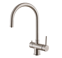 Кухонный комбинированный смеситель (3 в 1) под фильтрованную воду Fabiano FKM 31.5 S/Steel