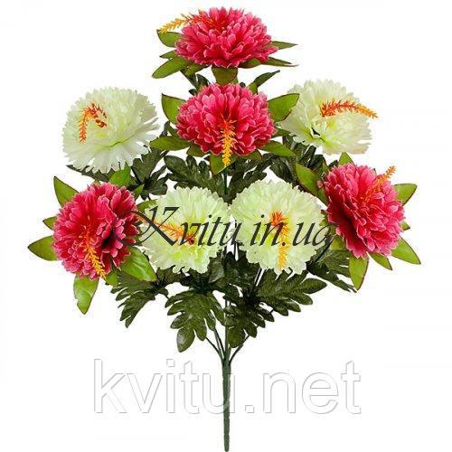 Искусственные цветы букет гвоздики двухцветные с кукурузкой, 49см