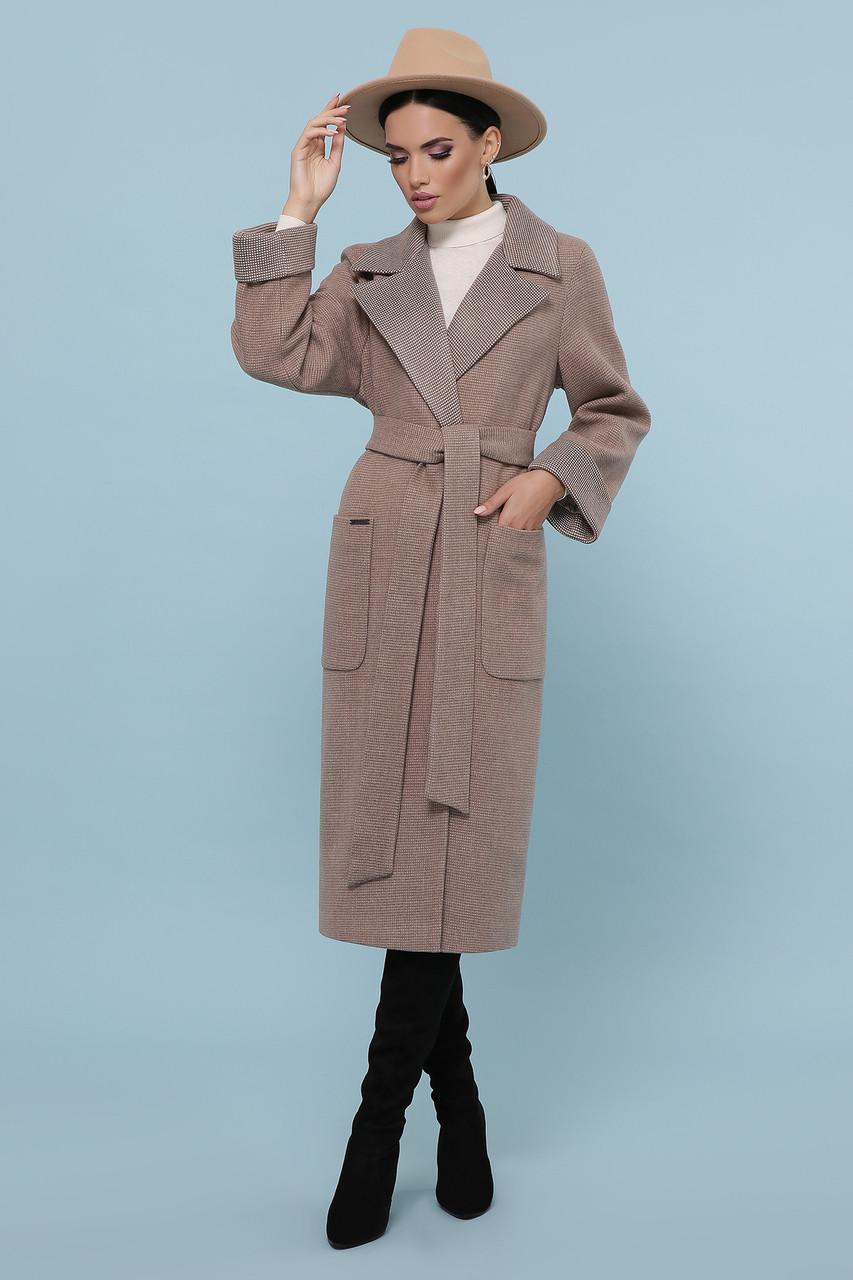 Пальто женское демисезонное удлиненное коричневое П-347-110