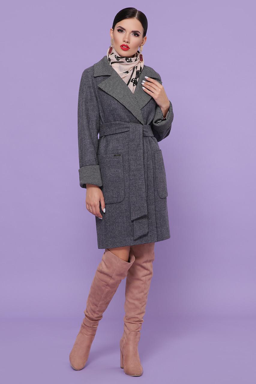 Пальто женское осенне-весеннее с английским воротником серое П-347-М-90