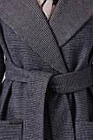 Пальто женское осенне-весеннее с английским воротником серое П-347-М-90, фото 4