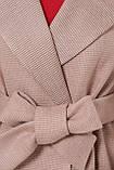 Пальто женское осенне-весеннее с английским воротником песочное П-347-М-90, фото 4