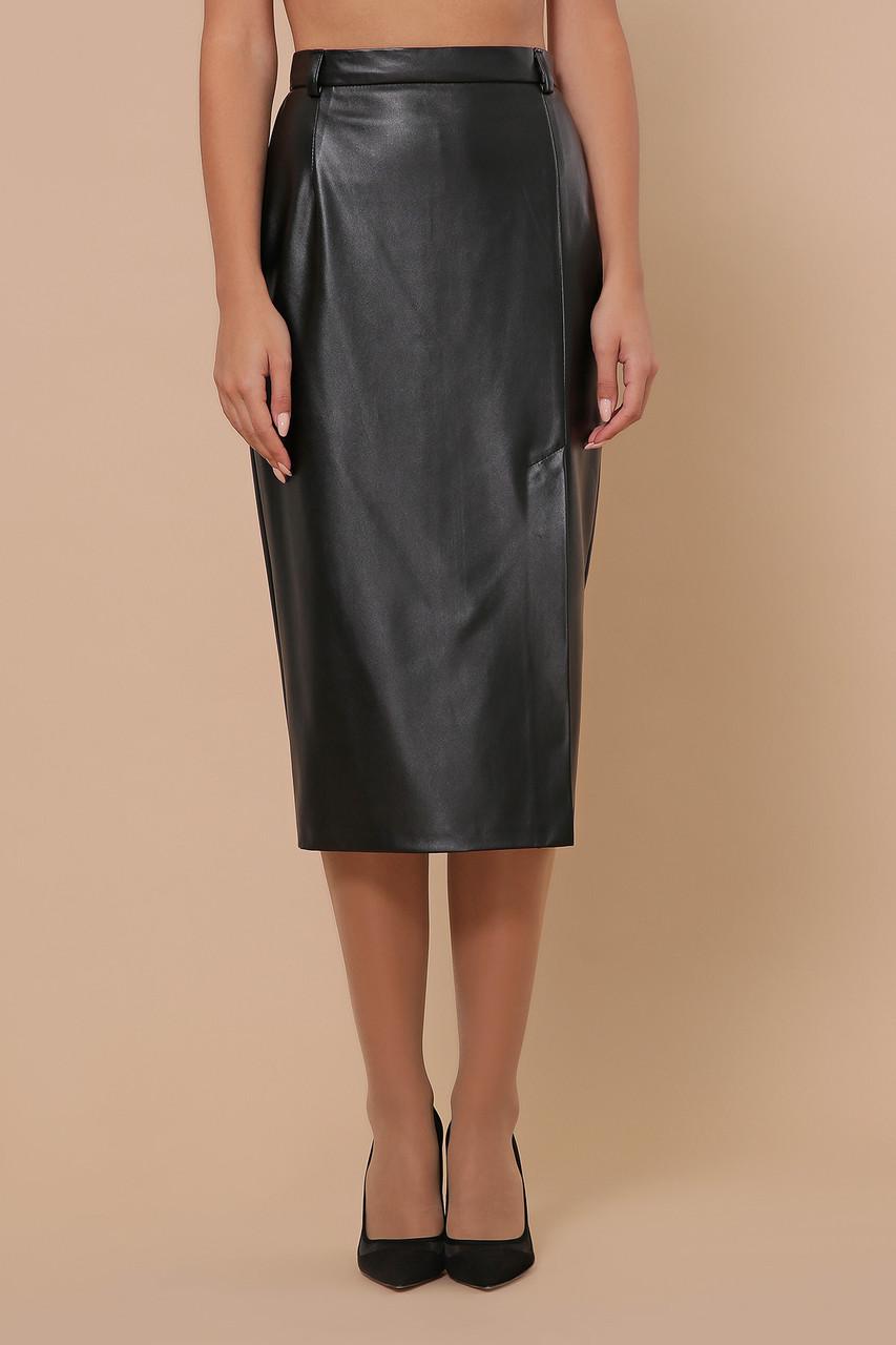 Стильная юбка из экокожи черная