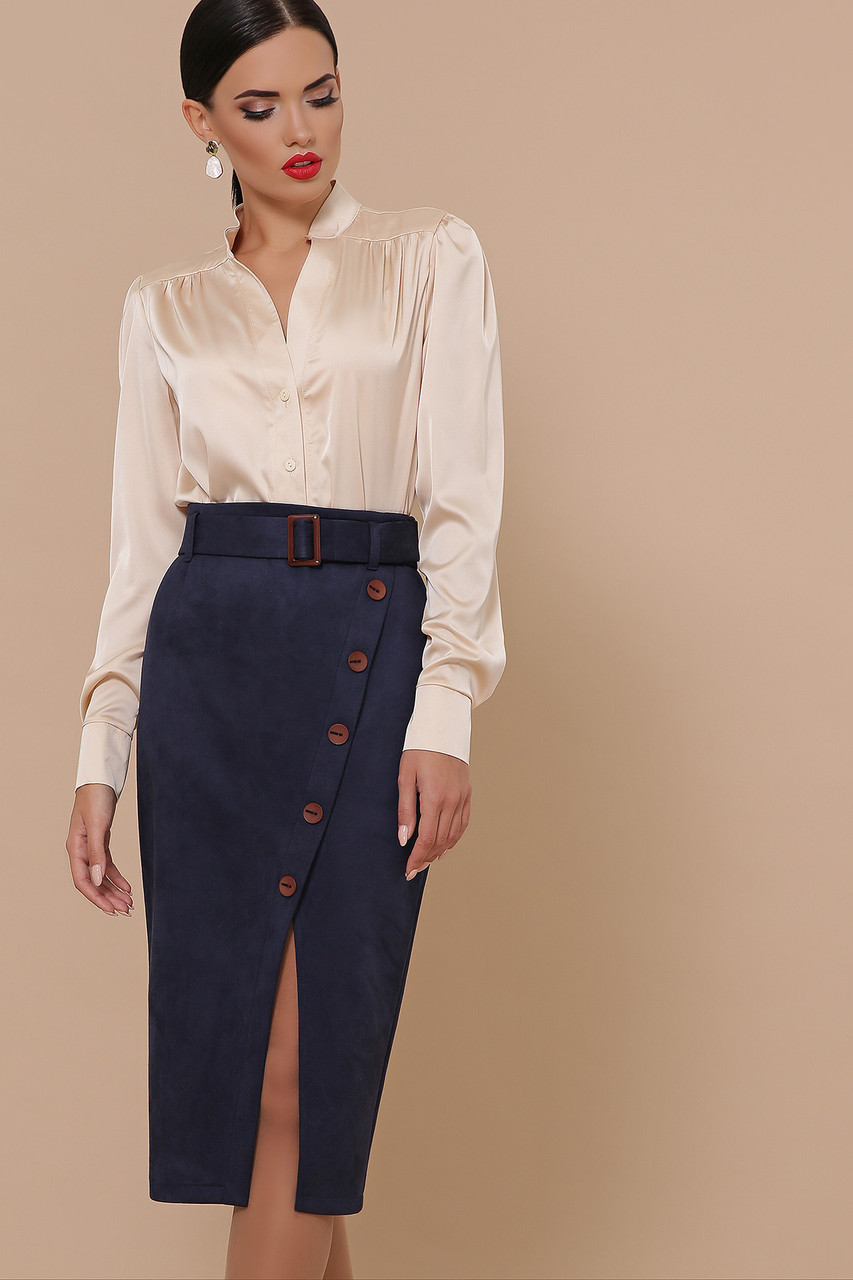 Замшевая юбка с декоративным разрезом синяя