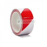 Лента сигнальная клейкая красно-белая 48мм х 30м