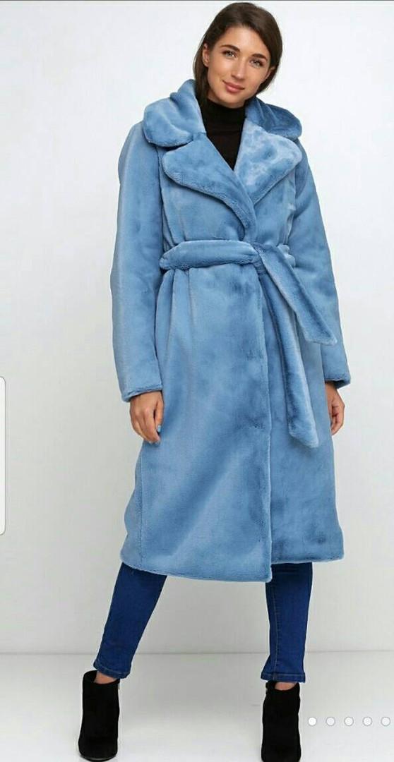 Стильная длинная  женская шубка мутон, голубого цвета