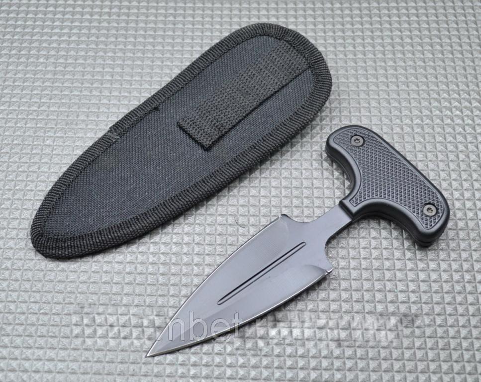 Нож тычок пуш даггер + чехол рукоять пластик, клинок стальной черненный