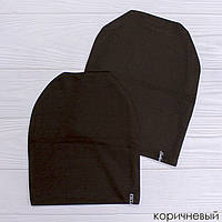 Трикотажная шапка женская коричневая