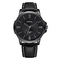 Мужские часы YAZOLE 332 - черный корпус, черный ремешок