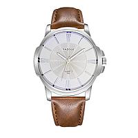 Мужские часы YAZOLE 332 - Серебряный корпус, коричневый ремешок