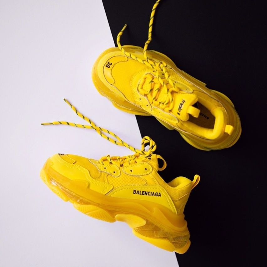 Женские кроссовки в стиле Balenciaga Triple S Clear Sole Yellow