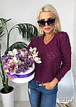 Джемпер свитер женский вязаный с узором (в расцветках), фото 2