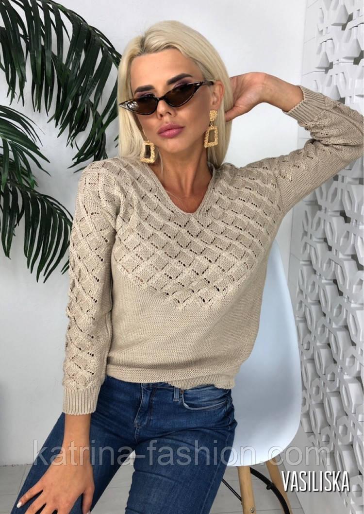 Джемпер свитер женский вязаный с узором (в расцветках)