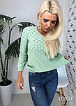 Джемпер свитер женский вязаный с узором (в расцветках), фото 6