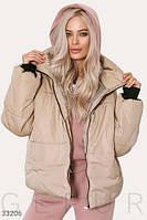Демисезонная бежевая куртка-oversize на силиконе (200)
