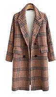 Пальто женское стильное осеннее, классическое, бежевое в клетку
