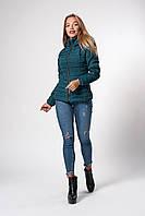 Современная женская демисезонная куртка изумрудная размер 42-48